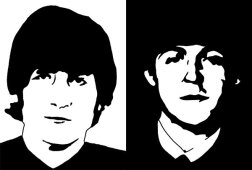 John Lennon and Paul McCartney ink drawing